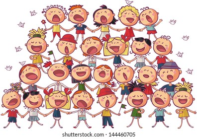 children choir singing vector illustration