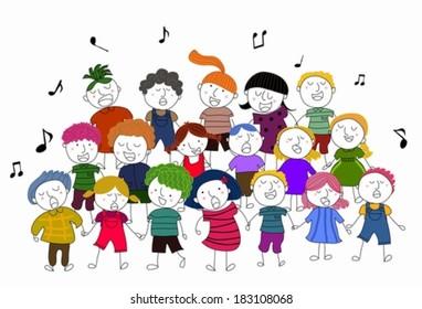 children choir singing vector illustration
