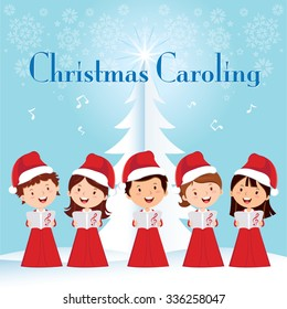 Children Christmas Caroling. Children choir singing.