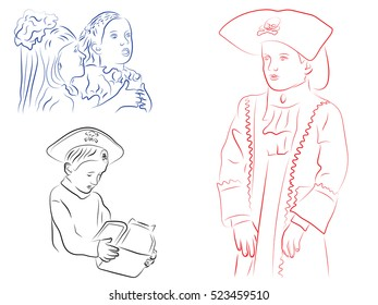 Children in Christmas costumes, the boy in the pirate costume holding a Christmas gift, a boy in a pirate costume, vector illustration
