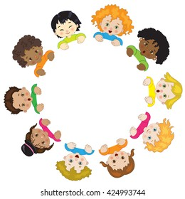 Children in Circle on a White Background