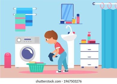Children clean wash clothes on laundry day vector illustration. Cartoon happy boy kid character holding dirty fabric cloth, standing next to washing machine and basket, child chores background