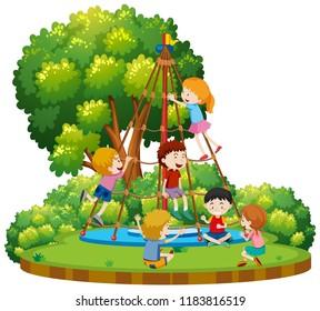 Children climbing outdoor rope equipment illustration