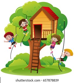 Children climbing rope up to treehouse illustration
