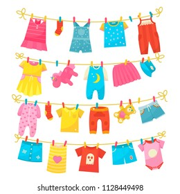 Children clothes on rope. Kids bright clothing washed is hung along the line to dry, using clothes pegs, clothespins. Vector flat style cartoon illustration isolated on white backgroun