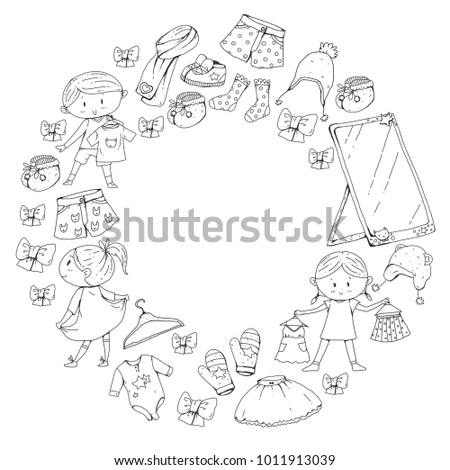 ef40e2854 Children Clothing Kindergarten Boys Girls Clothes Stock Vector ...