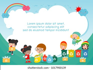 Children collect rubbish for recycling, Kids Segregating Trash, Save the World ,Template for advertising brochure, your text ,Vector Illustration