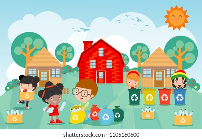 Children collect rubbish for recycling, Kids Segregating Trash, Save the World,Template for advertising brochure, Boy and girl recycling poster Vector Illustration
