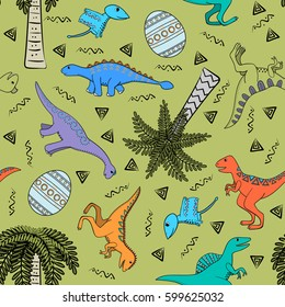 Children colorful background with stylized dinosaurs