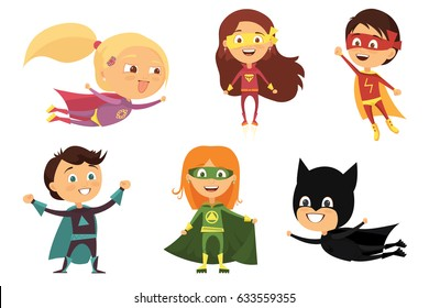 Children, colorful costumes of various superheroes, isolated on white background cartoon vector illustration