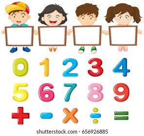 Children and colorful numbers illustration