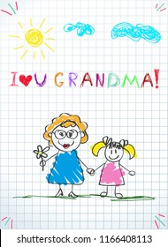 Children colorful pencil drawings. Vector illustration of grandmom and grandchild together holding hands and inscription i love you grandma on squared notebook sheet background. Kids doodle drawings.