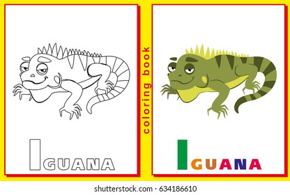 Children Coloring Book With Letters And Words The Letter I Iguana Vector Image