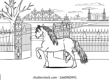 Children coloring book with line art Frisian horse character on royal castle background. Use it for info graphic, pachage or poster design.