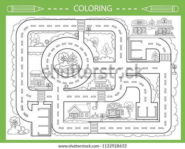 Children Coloring City Road Board Game Stock Vector (Royalty Free ...