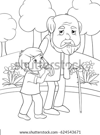 Children Coloring Page Boy Helps Old Stock Vector (Royalty ...