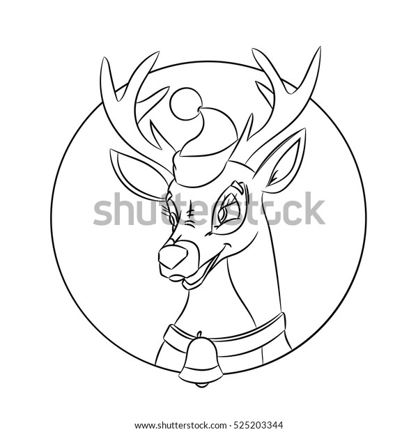 Children Coloring Pages Christmas Deer Made Stock ...