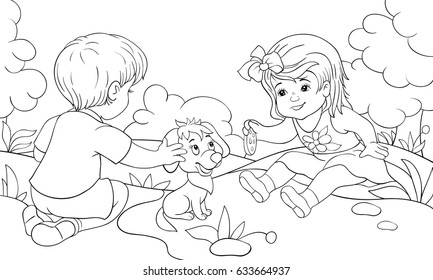 Children coloring pages,book a boy and a girl in the park.Cartoon style illustration.