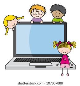 Kid On Computer Cartoon Images, Stock Photos & Vectors | Shutterstock
