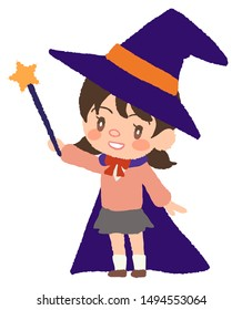 Children cosplaying as a wizard at Halloween