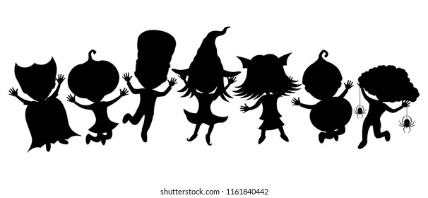 Children in costumes for halloween on a white background.
