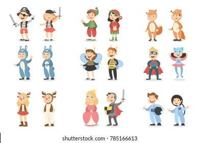 Children costumes set. Animals and insects, superheroes and pirates.