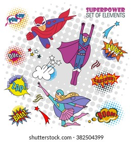 Children in costumes superheroes - vector set of isolated characters, elements, comics speech and explosion bubbles on a white background
