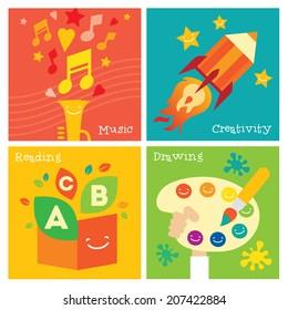 Children creativity development icon set. Modern flat vector illustration set. Design element