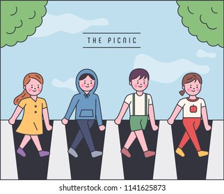 Children crossing a pedestrian crossing with Abby Road concept. outline style flat design style vector graphic illustration set