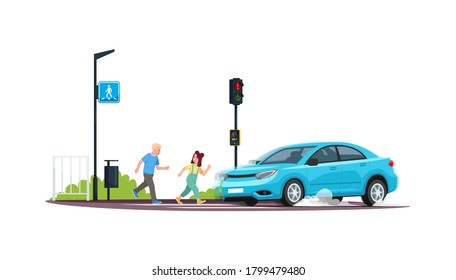 Children crossing at red light semi flat RGB color vector illustration. Kids running crosswalk while a car is coming. Breaking safety rules. Isolated cartoon character on white background