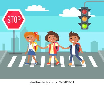 Children crossing road against city skyline background. Cartoon style vector illustration of boys and girls with rucksacks on crosswalk near stop sign