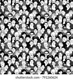 Children crowd group monochrome seamless pattern. Black and white vector illustration. EPS8