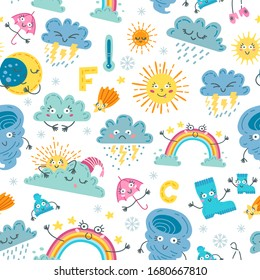 Children cute weather seamless pattern. Cute design template. Beautiful decoration. Weather icons for textile, wrapping paper, greeting cards or posters