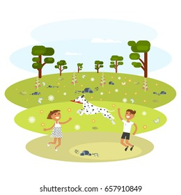 Children with Dalmatian walking in the park. The dog catches the ball. Vector illustration eps 10