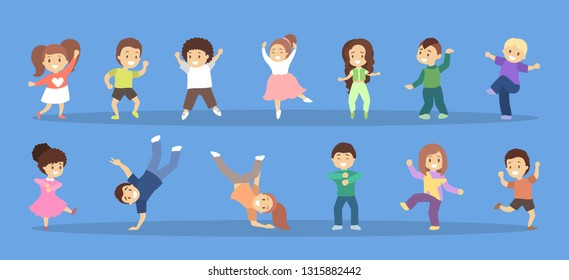Children dance set. Collection of kids dancing in various style. Funny group of kids jump and smile. Flat vector illustration