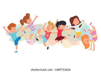 Children dancing breakdance. Happy kids joyfully jumping and laughing. Concept of happiness, gladness and fun. Funny cartoon character. Vector illustration. Isolated on white background