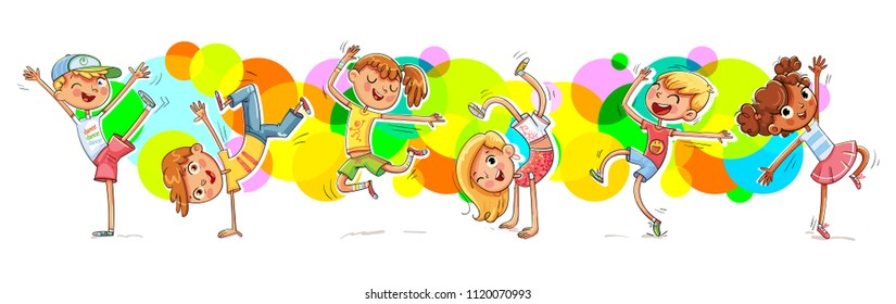 Children dancing breakdance. Happy multiracial kids joyfully jumping and laughing against the background of colorful splashes. Concept of happiness, gladness and fun. Vector illustration RGB.