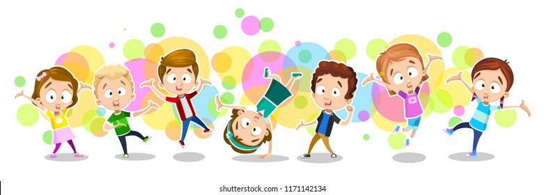 Children dancing and enjoying time. Happy  kids joyfully jumping and laughing against the background of colorful splashes