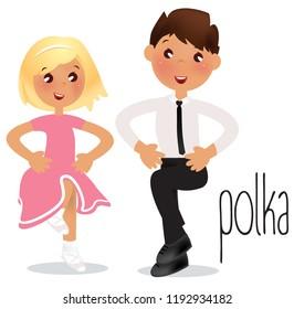 Children dancing Polka. Vector illustration Ballroom dance school.