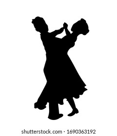 Children dancing waltz silhouette vector illustration. Couple dancing isolated on white background.