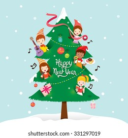 Children And Decorations On New Year Tree, Merry Christmas, Xmas, Objects, Festive, Celebrations