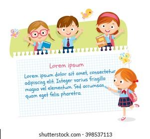 children design with pupils in school uniform