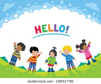 Children. Design template with kids and background