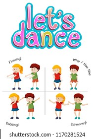 Children with different dance move illustration