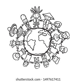 Children different ethnicity culture  holding hands standing together. children around the world. Black white Vector illustration. Isolated on white background. Earth day