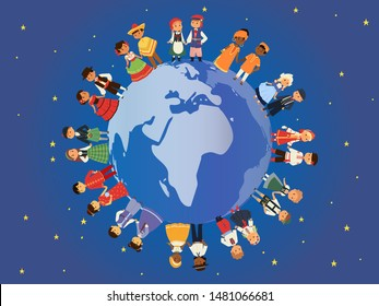 Children of different nationalities around earth banner vector illustration. Kids characters in traditional costume national dress. Cultures. International multicultural friendship.
