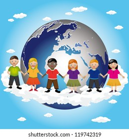children of different nationalities holding hands on the background of the globe and clouds