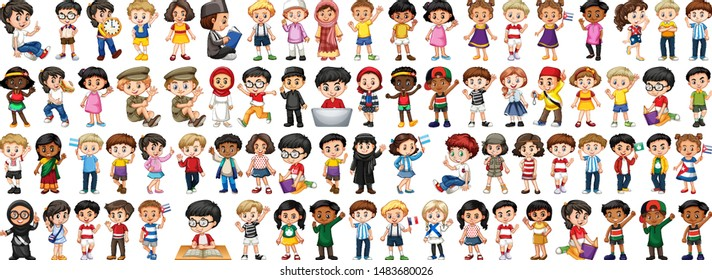 Children with different nationalities on white background illustration