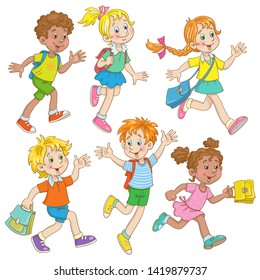 Children of different nationalities are running to school. In cartoon style. Isolated on white background.