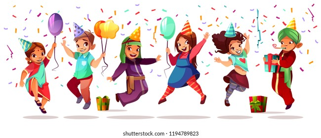 Children Of Different Nationality Celebrating Birthday Or Holiday With Color Balloons Gifts And Confetti